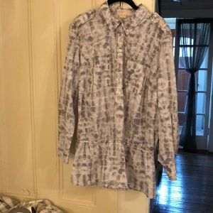 Michael Kors Gray and White Button Front Top.